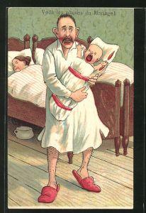 AK Voilá les plaisiers du Mariage, Scherz, Vater mit schreiendem Säugling