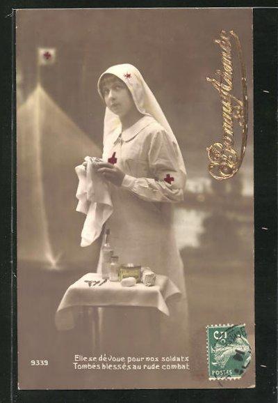 AK Elle se d'voue por nos soldats..., Krankenschwester mit Besteck, Rotes Kreuz 0