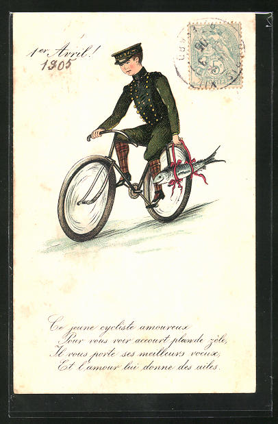 AK 1er Avril, Ce jeune cycliste amoureux..., Dienstbote auf Fahrrad mit Fisch 0