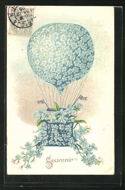 Präge-AK Souvenier, Vergissmeinnicht-Ballon 0