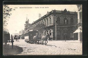 AK Montevideo, Calle 18 de Julio, Pferdebahn