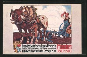 Künstler-AK Angelo Jank: München, Hundertjahrfeier d. Landw. Vereins verbunden mit Landw. Ausstellungen 1910