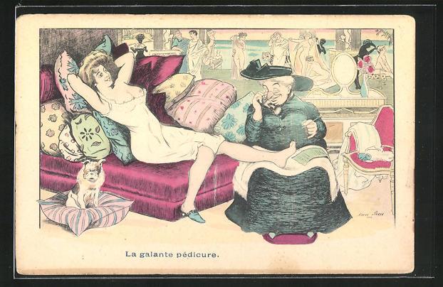 Künstler-AK Xavier Sager: La galante pédicure, Junge Frau mit entblössten Brüsten bekommt eine Pediküre 0
