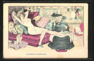 Künstler-AK Xavier Sager: La galante pédicure, Junge Frau mit entblössten Brüsten bekommt eine Pediküre