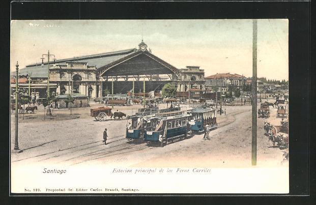 AK Santiago, Estacion principal de los Ferro Carriles, Strassenbahnen 0