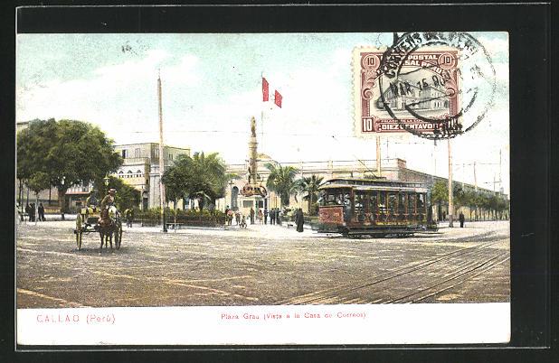 AK Callao, Strassenbahn auf der Plaza Grau 0