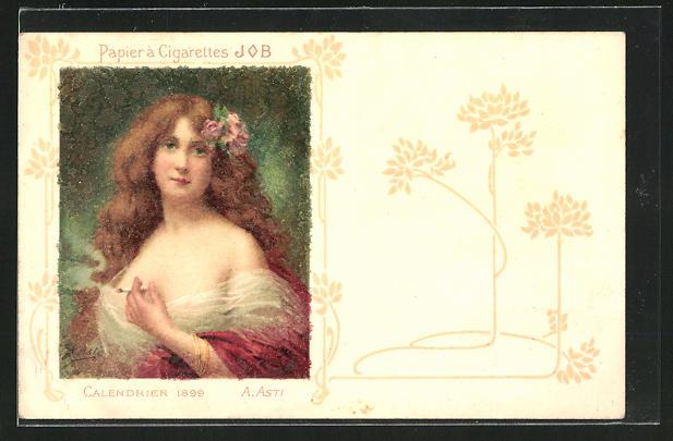 Künstler-AK Angelo Asti: Reklame für Job-Zigarettenpapier, Calendrier 1899, A. Asti, Jugendstil