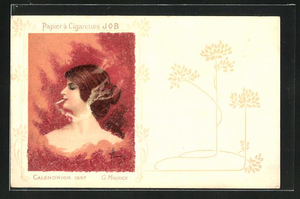 Künstler-AK Reklame für Job-Zigarettenpapier, Calendrier 1897, G. Maurice, Jugendstil