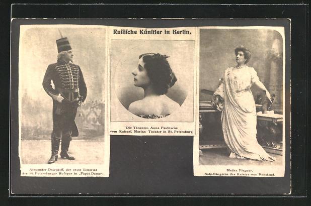 AK Russische Künstler in Berlin, Opernsänger Alexander Dawidoff, Tänzerin Anna Paulowna 0