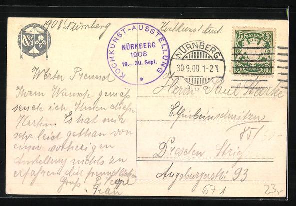 Künstler-AK Nürnberg, Ausstellung für Kochkunst und Gastwirtsgewerbe 1908, Teilansicht mit Burg 1