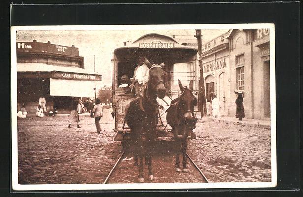 AK San Salvador, Pferdebahn auf einer Strasse der Altstadt 0
