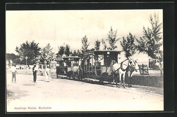 AK Barbados, Pferdebahn an der Station Hastings Rock