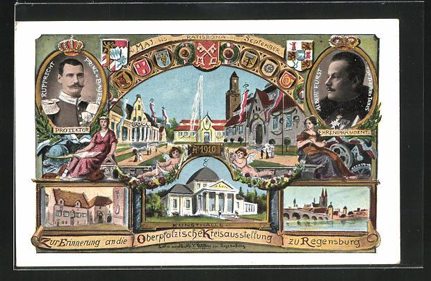AK Regensburg, Oberpfälzische Kreisausstellung 1910, Ehrenpräsident Fürst Albert von Thurn & Taxis 0