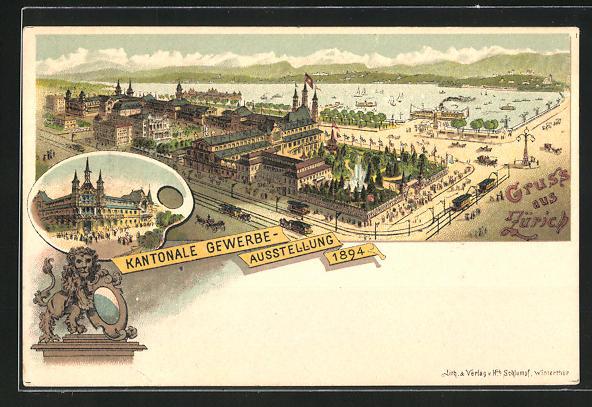 Lithographie Zürich, Kantonale Gewerbe-Ausstellung 1894, Ausstellungsgelände 0