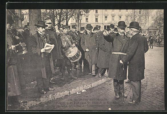 AK Paris, 1. Mai 1906, Place de la Republique, M. Bouvier und M. Lépine 0