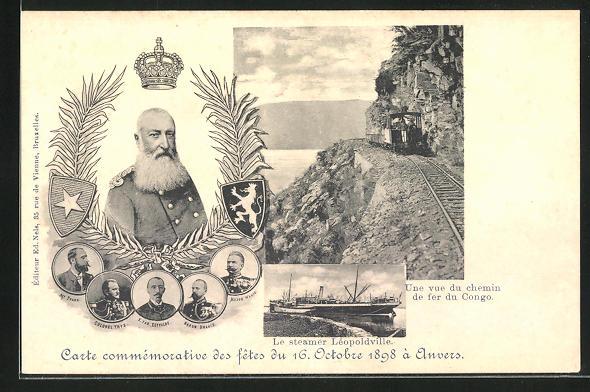 AK Anvers, Fetes du 16.10.1898, Passagierschiff Léopoldville, König Leopold von Belgien 0