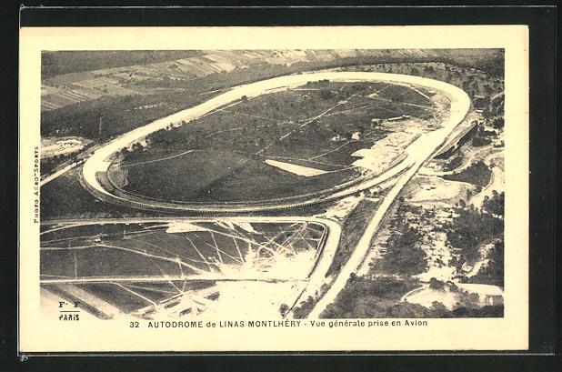 AK Linas-Montlhéry, Autodrome, Autorennstrecke aus der Vogelschau