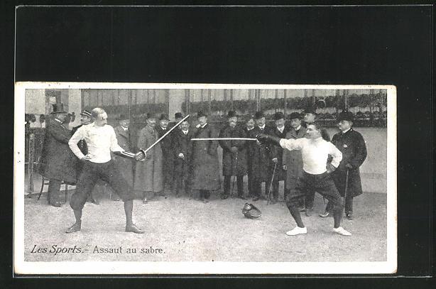 Mini-AK Les Sports - Assault au sabre, Sportfechter beim Duell 0