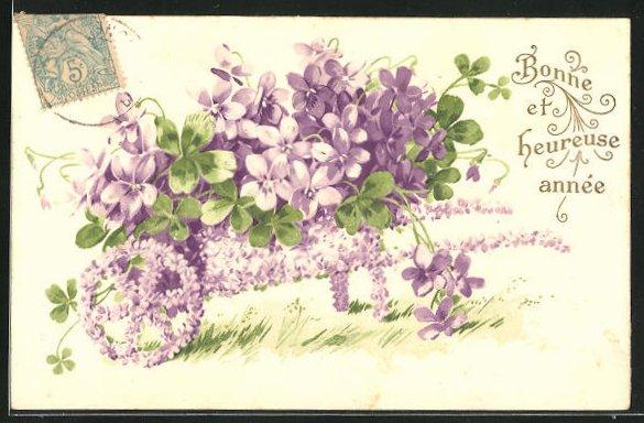 Präge-AK Schubkarre aus Veilchen, Blumenbild 0