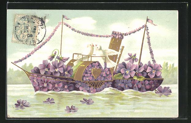 Präge-AK Tauben auf einem Dampfer aus Veilchen, Blumenbild