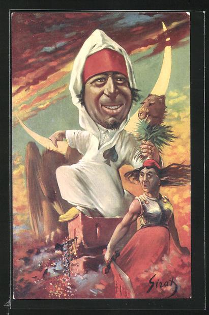 Künstler-AK sign. Sirat: Sultan Abd-al-Aziz von Marokko, Karikatur 0