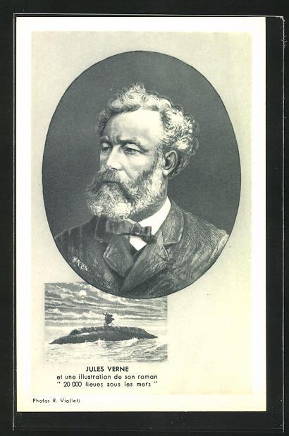 AK Portrait des Schriftstellers Jules Verne, Illustration eines U-Bootes aus 20000 Meilen unter dem Meer