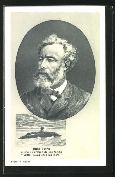 AK Portrait des Schriftstellers Jules Verne, U-Boot-Illustration aus 20000 Meilen unter dem Meer 0
