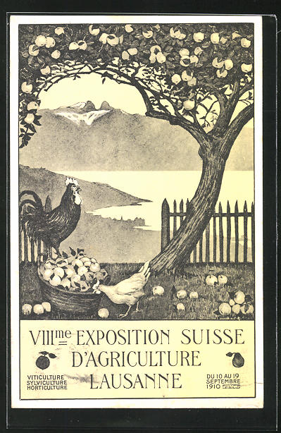 AK Lausanne, VIII. Exposition Suisse d`Agriculture, Hühner unter einem Apfelbaum 0