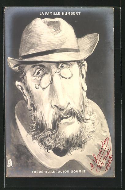 Künstler-AK Affaire Humbert, Frédéric le Toutou Soumis, Karikatur