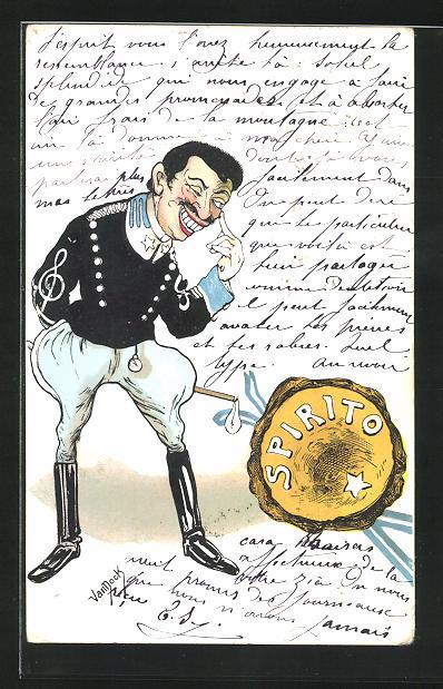 Künstler-AK sign. Van Dock: Spirito, Karikatur eines Generals 0
