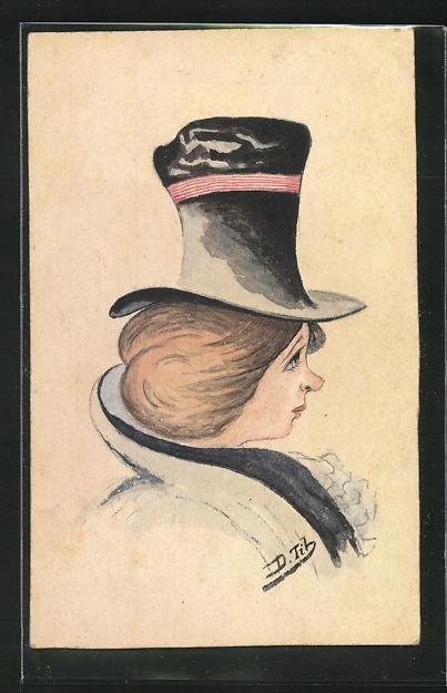 Künstler-AK Handgemalt: Damenportrait mit Hut im Profil 0