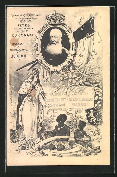 Künstler-AK Leopold II. von Belgien, Fetes de la Celebration de l`Oeuvre du Congo 1905 0