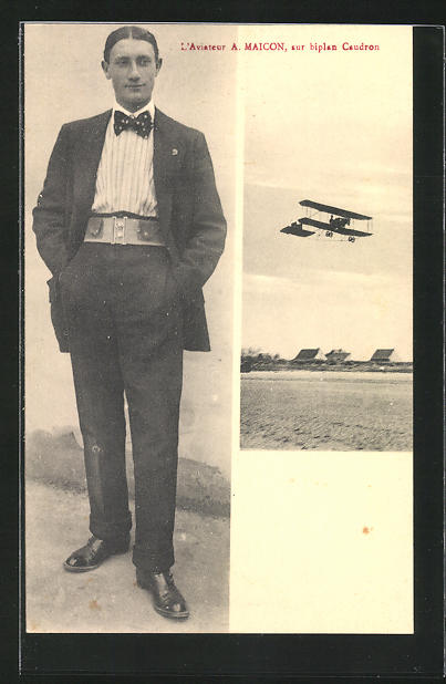 AK L`Aviateur A. Maicon, sur biplan Caudron, Pilot und Flugzeug 0