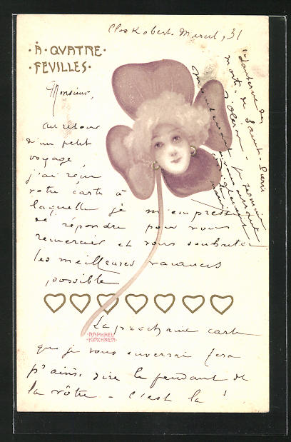 Künstler-AK Raphael Kirchner: A Quatre Fevilles, Damengesicht im Kleeblatt mit Herzen 0