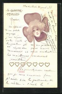 Künstler-AK Raphael Kirchner: A Quatre Fevilles, Damengesicht im Kleeblatt mit Herzen
