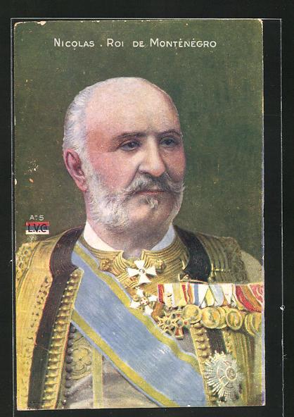 AK Portrait Nicolas Roi de Montenegro in Uniform mit Orden 0