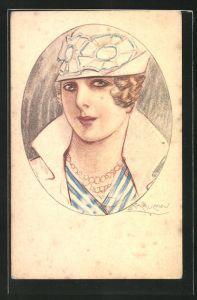 Künstler-AK Mauzan: Portrait moderne Dame mit Hut und Perlenkette
