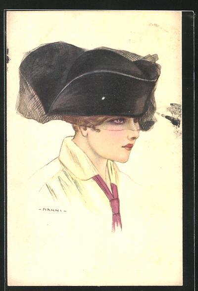 Künstler-AK Nanni: Dame mit Hut und Augennetz 0