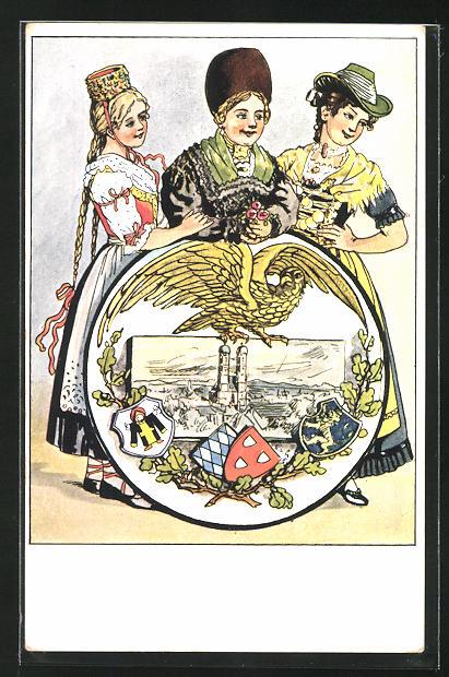 Künstler-AK München, XV. Dt. Bundesschiessen 1906, Damen in bayrischer Tracht 0
