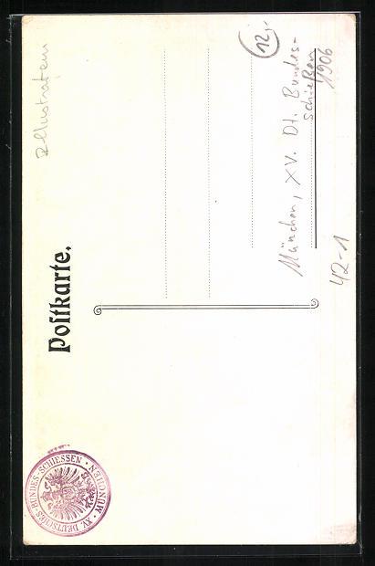 Künstler-AK München, XV. Dt. Bundesschiessen 1906, Damen in bayrischer Tracht 1