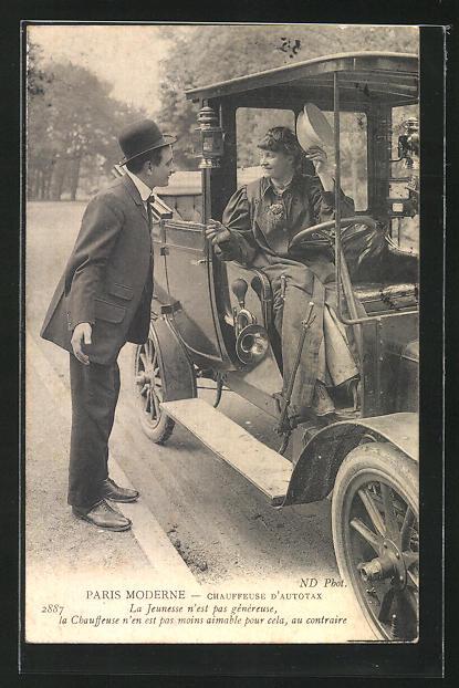 AK Paris, Moderne: Chauffeuse d`Autotax, weiblicher Chauffeur im Auto 0