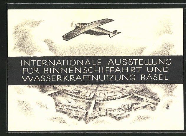 Künstler-AK Basel, Internationale Ausstellung für Binnenschiffahrt und Wasserkraftnutzung, Flugzeug über der Stadt 0