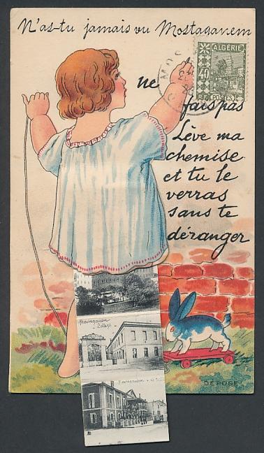 Leporello-AK Mostaganem, Kleinkind mit Ansichten unterm Hemdchen, Villa Pineda, Le Théatre 0