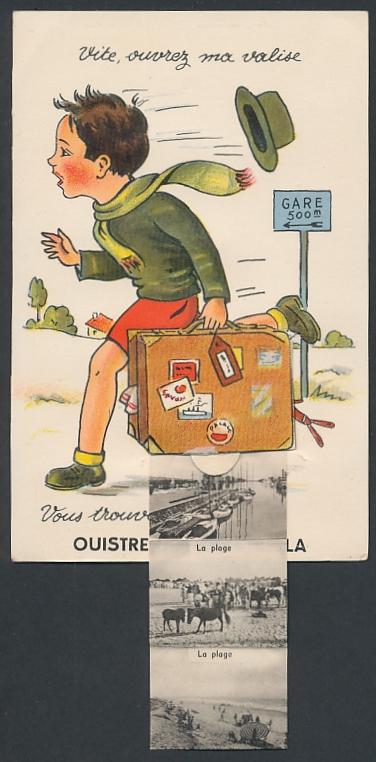 Leporello-AK Ouistreham-Riva Bella, Laufender Knabe mit Ansichten im Koffer, le Port, la Plage 0