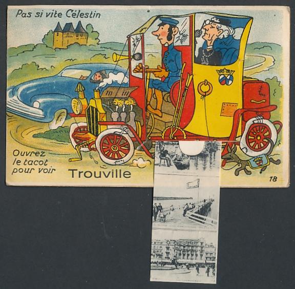 Leporello-AK Trouville, Alte Dame lässt sich chauffieren, le Casino, le Port 0