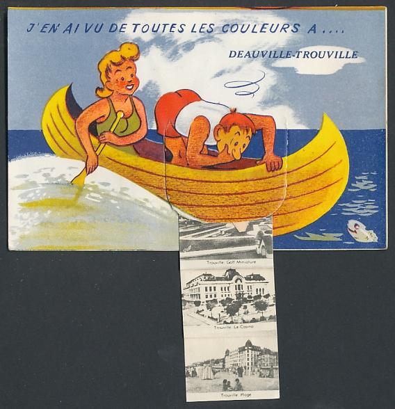 Leporello-AK Deauville-Trouville, Paar im Ruderboot, le Casino, les Planches, Trouville Golf Miniature