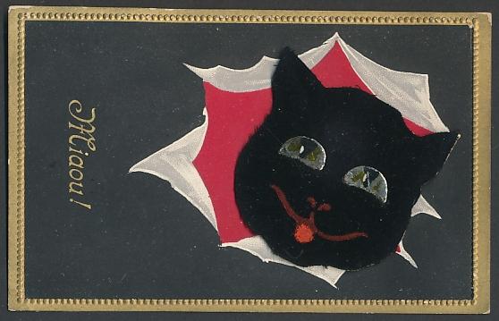 Mechanische-AK Kopf einer schwarzen Katze auf Sprungfeder 0
