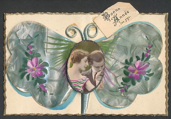 Oblaten-AK Schmetterling mit Portrait eines Liebespaares, Bonne Année 0