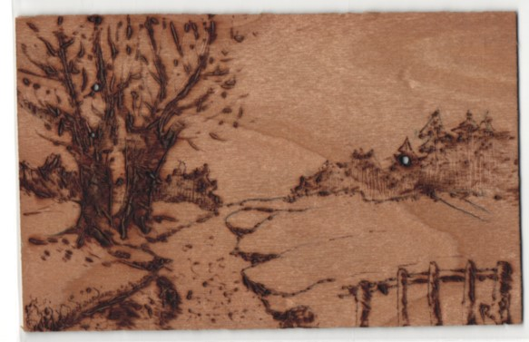 Holz-AK Landschaftsmotiv mit Weiden am Fluss