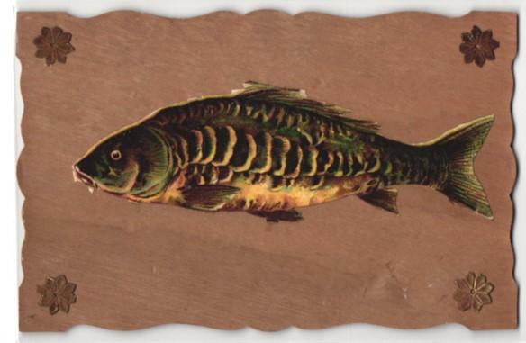 Holz-AK Aufgeklebter Fisch und Sterne in den Ecken 0